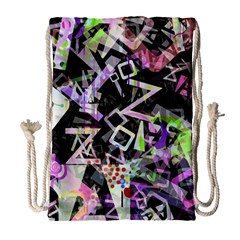 Chaos With Letters Black Multicolored Drawstring Bag (large) by EDDArt