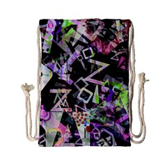 Chaos With Letters Black Multicolored Drawstring Bag (small) by EDDArt