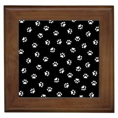 Footprints Cat White Black Framed Tiles by EDDArt
