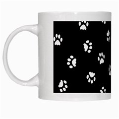 Footprints Cat White Black White Mugs by EDDArt