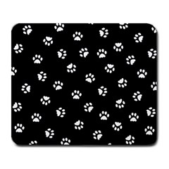 Footprints Cat White Black Large Mousepads by EDDArt