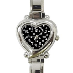 Footprints Cat White Black Heart Italian Charm Watch by EDDArt