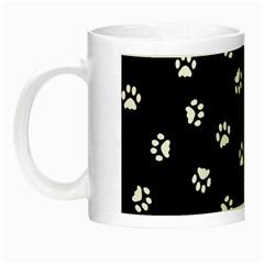 Footprints Cat White Black Night Luminous Mugs by EDDArt