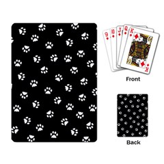 Footprints Cat White Black Playing Card by EDDArt