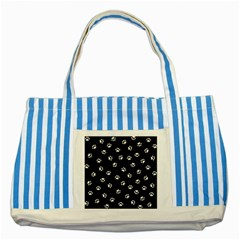Footprints Cat White Black Striped Blue Tote Bag by EDDArt