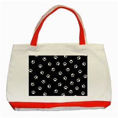 Footprints Cat White Black Classic Tote Bag (red) by EDDArt