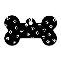 Footprints Cat White Black Dog Tag Bone (one Side) by EDDArt