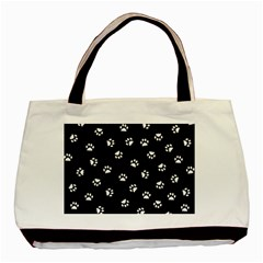 Footprints Cat White Black Basic Tote Bag (two Sides) by EDDArt