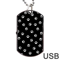 Footprints Cat White Black Dog Tag Usb Flash (one Side) by EDDArt