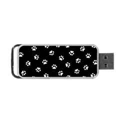 Footprints Cat White Black Portable Usb Flash (two Sides) by EDDArt