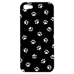 Footprints Cat White Black Apple Iphone 5 Hardshell Case by EDDArt