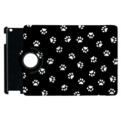 Footprints Cat White Black Apple Ipad 3/4 Flip 360 Case by EDDArt