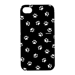 Footprints Cat White Black Apple Iphone 4/4s Hardshell Case With Stand by EDDArt
