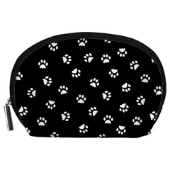 Footprints Cat White Black Accessory Pouches (large)  by EDDArt