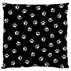 Footprints Cat White Black Standard Flano Cushion Case (two Sides) by EDDArt