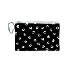 Footprints Cat White Black Canvas Cosmetic Bag (s) by EDDArt