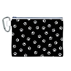 Footprints Cat White Black Canvas Cosmetic Bag (l) by EDDArt