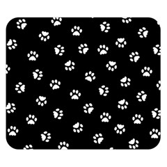 Footprints Cat White Black Double Sided Flano Blanket (small)  by EDDArt