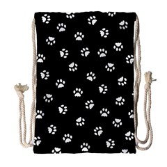 Footprints Cat White Black Drawstring Bag (large) by EDDArt