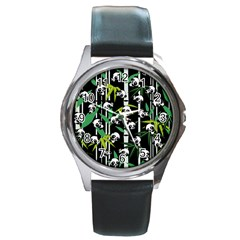 Satisfied And Happy Panda Babies On Bamboo Round Metal Watch by EDDArt