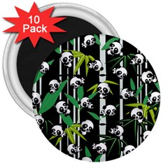 Satisfied And Happy Panda Babies On Bamboo 3  Magnets (10 Pack)  by EDDArt