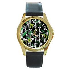 Satisfied And Happy Panda Babies On Bamboo Round Gold Metal Watch by EDDArt