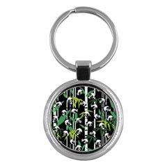 Satisfied And Happy Panda Babies On Bamboo Key Chains (round)  by EDDArt