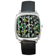Satisfied And Happy Panda Babies On Bamboo Square Metal Watch by EDDArt