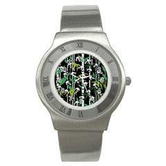 Satisfied And Happy Panda Babies On Bamboo Stainless Steel Watch by EDDArt