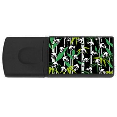 Satisfied And Happy Panda Babies On Bamboo Usb Flash Drive Rectangular (4 Gb) by EDDArt