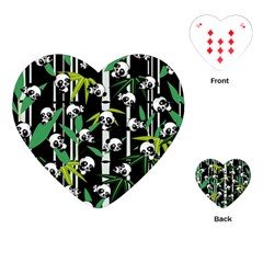Satisfied And Happy Panda Babies On Bamboo Playing Cards (heart)  by EDDArt