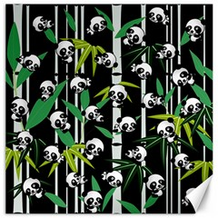 Satisfied And Happy Panda Babies On Bamboo Canvas 12  X 12   by EDDArt