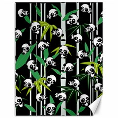 Satisfied And Happy Panda Babies On Bamboo Canvas 12  X 16   by EDDArt