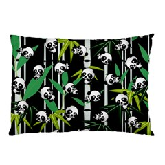 Satisfied And Happy Panda Babies On Bamboo Pillow Case by EDDArt