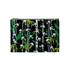 Satisfied And Happy Panda Babies On Bamboo Cosmetic Bag (medium)  by EDDArt