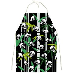 Satisfied And Happy Panda Babies On Bamboo Full Print Aprons by EDDArt