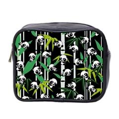 Satisfied And Happy Panda Babies On Bamboo Mini Toiletries Bag 2 Side by EDDArt