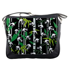 Satisfied And Happy Panda Babies On Bamboo Messenger Bags by EDDArt