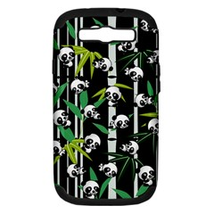 Satisfied And Happy Panda Babies On Bamboo Samsung Galaxy S Iii Hardshell Case (pc+silicone) by EDDArt