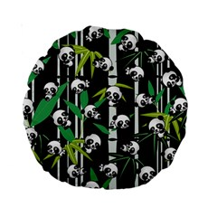 Satisfied And Happy Panda Babies On Bamboo Standard 15  Premium Round Cushions by EDDArt