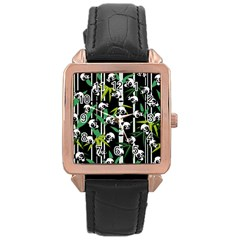 Satisfied And Happy Panda Babies On Bamboo Rose Gold Leather Watch  by EDDArt