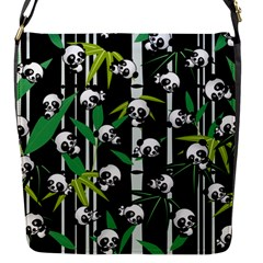 Satisfied And Happy Panda Babies On Bamboo Flap Messenger Bag (s) by EDDArt