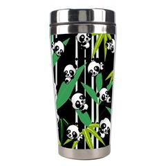 Satisfied And Happy Panda Babies On Bamboo Stainless Steel Travel Tumblers by EDDArt