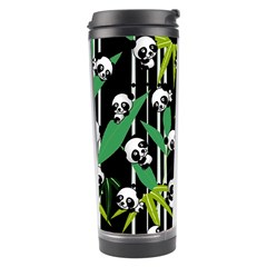 Satisfied And Happy Panda Babies On Bamboo Travel Tumbler by EDDArt