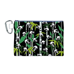 Satisfied And Happy Panda Babies On Bamboo Canvas Cosmetic Bag (m) by EDDArt