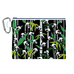 Satisfied And Happy Panda Babies On Bamboo Canvas Cosmetic Bag (l) by EDDArt