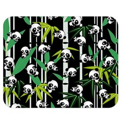 Satisfied And Happy Panda Babies On Bamboo Double Sided Flano Blanket (medium)  by EDDArt