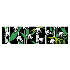 Satisfied And Happy Panda Babies On Bamboo Satin Scarf (oblong) by EDDArt