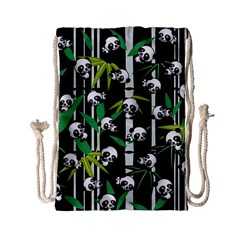 Satisfied And Happy Panda Babies On Bamboo Drawstring Bag (small) by EDDArt