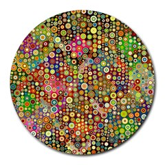 Multicolored Retro Spots Polka Dots Pattern Round Mousepads by EDDArt